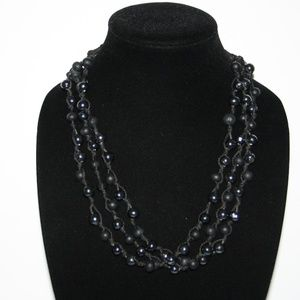 """Beautiful chunky triple stand black necklace 22"""""""